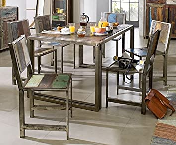 Table à manger 150x90cm - Métal et bois massif recyclé laqué (Multicolore) - Style Urbain - NEW YORK #16