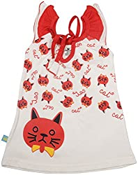 Absorba Baby Girls' Dress ( Red_4-5 Years ,60007)