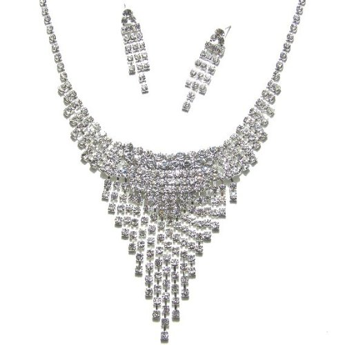 J136 Sparkly Crystal Diamante Wedding Bridal Necklace Earring Jewellery Set
