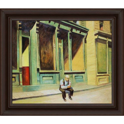overstockart-hopper-sunday-oil-painting-with-chesterfield-deep-frame-black-finish-with-oxblood-accen