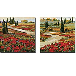 Hills in Bloom I & II by David Jackson 2-pc Premium Gallery-Wrapped Canvas Giclee Art Set (Ready to Hang)