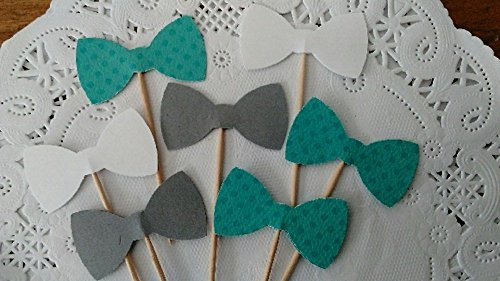 Teal Polka Dot Grey and White Bow Tie Cupcake Toppers - Teal Dots - Food Picks - Party Picks - Baby Shower Toppers - Bowtie Toppers (Set of 24) (Lil Mustache Baby compare prices)