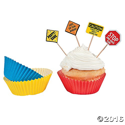 1 X Construction Zone Birthday Party Baking Cups and Picks - 50 of each - 1