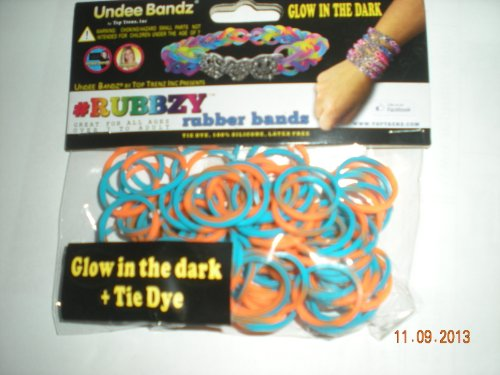 Rubbzy Glow in the Dark Turqouise and Orange Tie Dye Loose Rubber Bands
