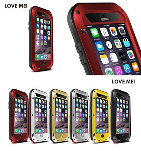 JUVENAiphone6 /plus専用保護ケース 耐衝撃、防塵、防水 強化ガラス (iPhone 6 Plus(5.5), レッド)