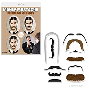 Manly Mustache Mirror Clings