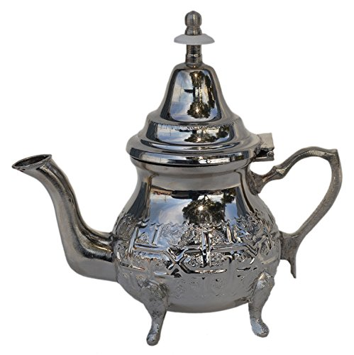 Tea Serving & Glasses Moroccan Serving Tea Pot Handmade Silver Platted Kettle Single Serving (Single Serving Teapot compare prices)
