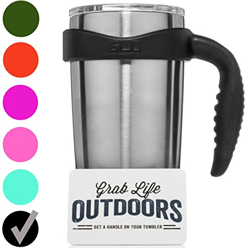 GLO - YETI Tumbler Cup Handle For 20 Oz Rambler - Fits Ozark Trail & more - Black (Handle Only)