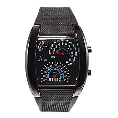 Mefeir® Stylish Personality Stainless Steel Watchcase Blue LED Light Aviation Speedometer Wrist Watch Black