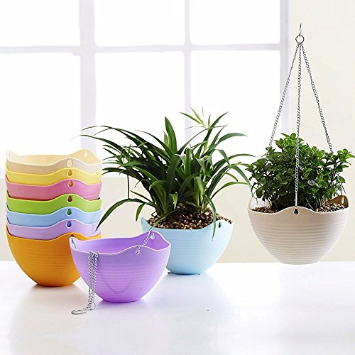 Mkono Hanging Flower Plant Pot Chain Basket Planter Holder 1pcs--White (Self Watering Hanging Planter compare prices)
