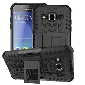 SDO Rugged Dual Layer Kickstand Hybrid Warrior Case Back Cover for Samsung Galaxy J2 - Black + Micro USB OTG Cable + Touch Screen Pen Style Stylus + Nano Sim Adapter Combo Set