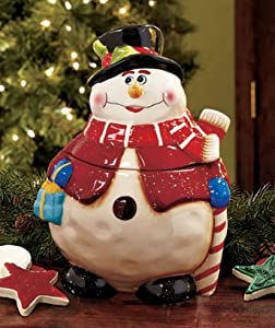 Red Hat Snowman Cookie Jar