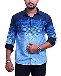 PP Shirts Men Cotton Casual Shirt ( Blue XXXL )