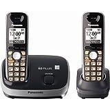 Panasonic Expandable Cordless Phone System 6.0 Plus KX-TG6512B, Black, 2 Handsets