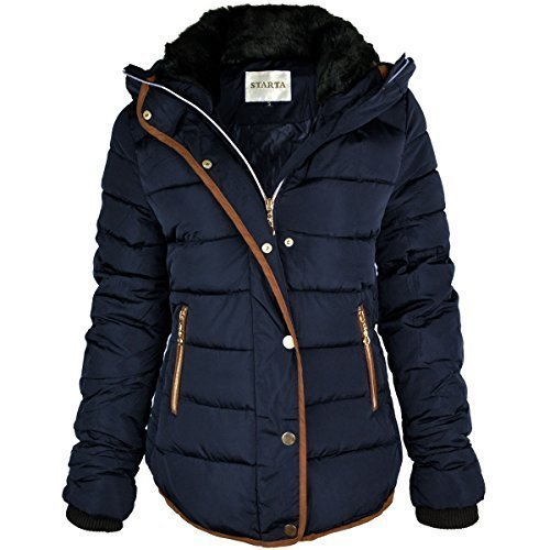 WOMENS LADIES QUILTED WINTER COAT PUFFER FUR COLLAR HOODED JACKET PARKA SIZE NEW (UK 10, Navy Blue / Brown Trim)