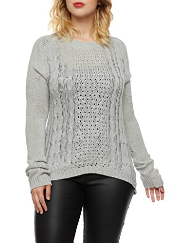 [16120XR-GRY-1X] Womens Plus Size Long Sleeve Sweater Traditional Cable Knit Top