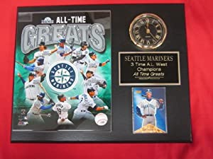 Seattle Mariners All Time Greats Collectors Clock Plaque w 8x10 Photo and Card by J & C Baseball Clubhouse