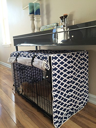 Modern Blue Marine Dog Pet Wire Kennel Crate Cage House Cove