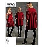 Vogue V1074 DKNY Donna Karan Designer Dress & Coat SEWING PATTERNl/ Concepteur modèle original de couture Robe & Manteau Tailles: 71-76-81-87-94 Toutes les tailles inclus dans l'enveloppe Instructions en français et anglais.
