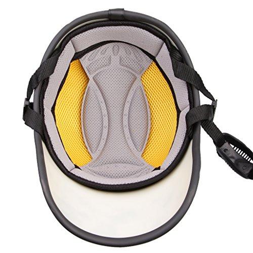 Motorcycle PU Leather Helmet Hat Cap Motocross Half Open Face Visor Protector Guard - Black