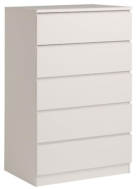 Casa 5407CO5T Commode 5 Tiroirs Blanc 76,5 x 50,5 x 122,1 cm