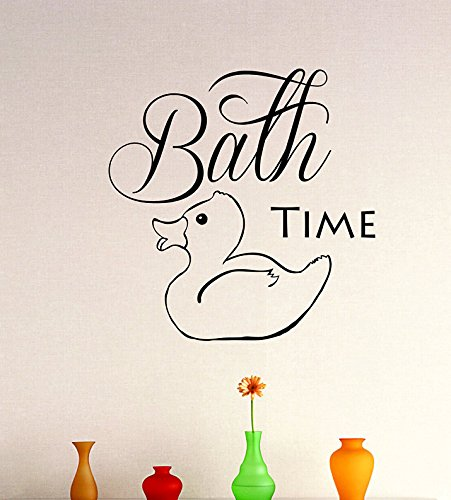 Design with Vinyl Zzz 134 2 Decor Item Bathtime Duck Bathroom Tub Design Design Vinyl Wall Decal, 16-Inch x 24-Inch, Black