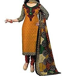 Look Smart Women's Polycoton Unstitched Dress Material (ISHITA ORANGE_Multicolor_Free Size)