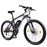 NCM Prague 27,5 Zoll Elektrofahrrad Mountainbike E-MTB E-Bike,Pedelec ALU 36V 250W Li-NCM Akku mit 11Ah,matt schwarz,silber