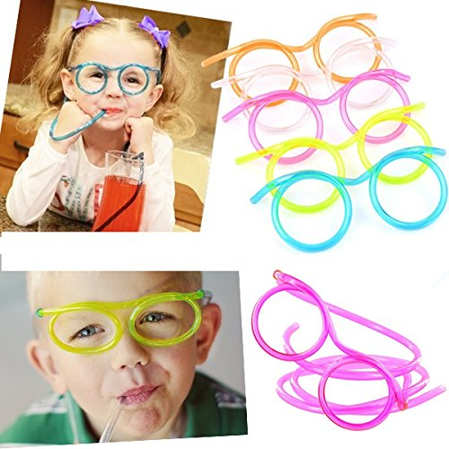 [2 pc of Party Funny Glasses Straw 6 colors selection Diameter 5 cm. Length 72.5 cm] (Cat Sushi Halloween Costume)