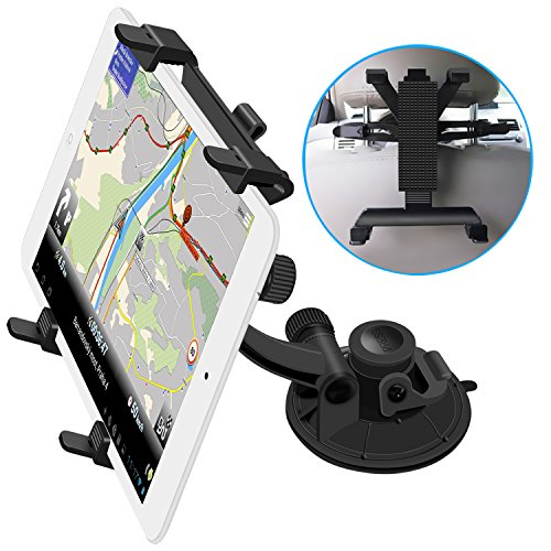Tablet Stand, Costech® Universal Car Mount 360 Degree Adjustable 2 in 1 Rotating Suction Cup & Headrest Seat Back Bracket Holder for Ipad,Ipad Air,Samsung Galaxy Tab Note