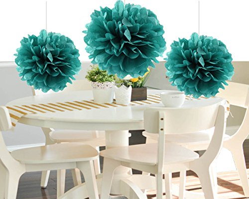 HEARTFEEL 8pcs Teal Color Tissue Paper Pom Poms Flower Balls Paper Craft Paper Flower Hanging Pom Wedding Party Outdoor Decoration Wedding Nursery Decorations Bridal Shower Party Room Decor