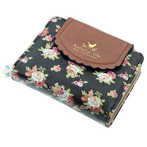 07. ETIAL Women's Vintage Floral Zip Mini Wallet Short Design Coin Purse