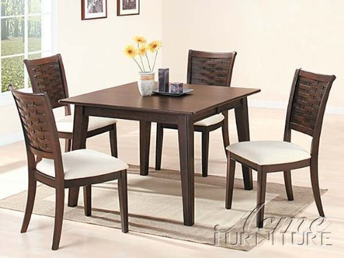 5Pc Casual Dining Table & Chairs Set Espresso Finish