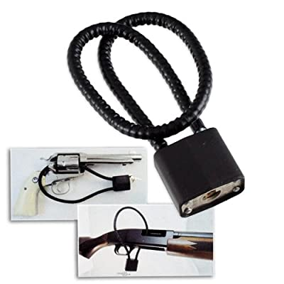 "Universal 15"" Keyed Safety Gun Lock Cable - Fits Pistols, Rifles, Shotguns"