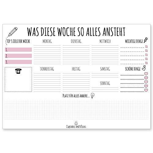 CUPCAKES-KISSES-Schreibtischunterlage-zum-abreien-DIN-A3-gro-Papier-wei-25-Seiten-fr-Notizen-Wochenplaner-Organizer-fr-Jugendliche