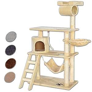 katzenkratzbaum kratzbaum f r katzen 141 cm h he extra breit beige haustier. Black Bedroom Furniture Sets. Home Design Ideas