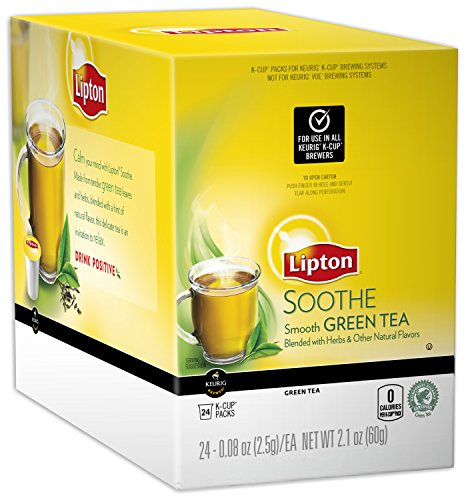 Lipton Green Tea K-Cup Soothe/Enlighten, Smooth Green Tea, 24 Count (Packaging May Vary)