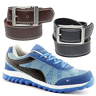 elligator blue sports shoes with black brown belt combo