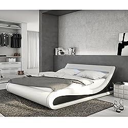 Polster-Bett 180x200 cm weiß-schwarz aus Kunstleder mit LED-Beleuchtung | Bellugia | Das Kunst-Leder-Bett ist ein Designer-Bett | Doppel-Betten 180 cm x 200 cm mit Lattenrost in Leder-Optik, Made in EU