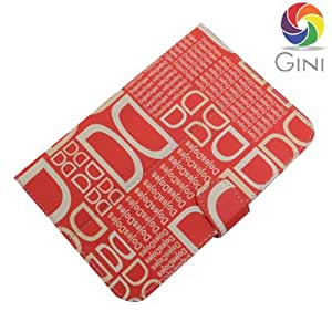Gini Flip cover for Lava Mobiles QPAD e704 Tablet With DD Text Red