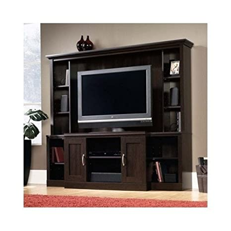 """Sauder Cinnamon Cherry Entertainment Center for Tvs up to 47"""". This Incredible Media Console Set Features 7 Adjustable Shelves and Hidden Storage Space Behind the Hutch Doors. This Living Room Furniture Also Organizes Your Media Units With Cord Manag"""