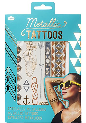 NPW Metallic Jewelry Temporary Tattoos, Gold and Rose Gold