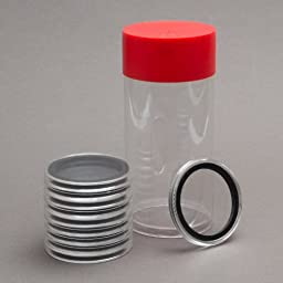 1 Airtite Coin Holder Storage Container & 10 Black Ring 16mm Air-Tite Coin Holder Capsules for 1/10oz Gold Eagles