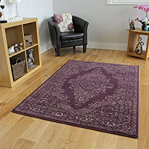 Milan Traditional Purple & Grey Medallion Print Rug 1027-H23 - 5 Sizes from The Rug House