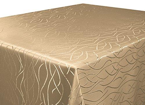 Tischdecke-hell-braun-110x110-cm-in-glanzvoller-Streifenoptik-eckig-Gre-Farbe-Form-whlbar-Rund-Eckig-Oval