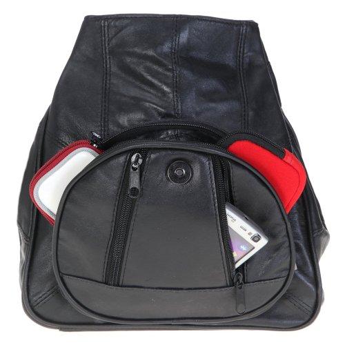 ECHT LEDER Rucksack Damenrucksack LADY BAG Minirucksack Tasche Lederrucksack Schwarz