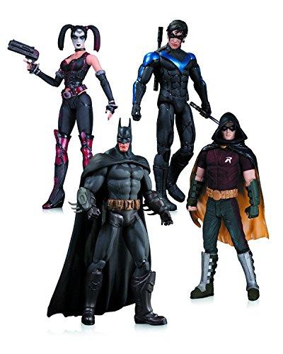 Super Hero Set Harley Quinn, Batman, Nightwing, Robin Hero Series Action Figures Toys, 4 Pack