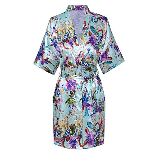 Old-to-new Women's Short Kimono Robe Bathrobe Night Robe with Flower Patterns Aqua L