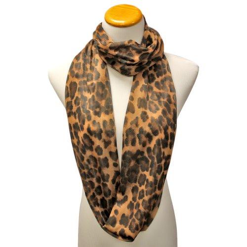 Luxury Divas Camel & Black Wild Leopard Print Lightweight Infinity Circle Scarf