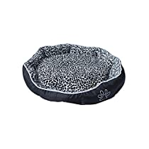 ALEKO® PB05M Medium 24X20X5 Inch Soft Plush Pet Cushion Crate Bed For Dogs and Cats With Removable Insert Pillow, Black and White Leopard Print